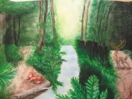 Watercolor Forest by Kinarei
