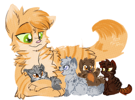 Sunset-tail and her Kits. by JustAGirlOnline