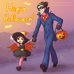 Phoenix and Trucy: Trick or Treat! by cosmicpants
