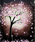 Original Painting, Pink Cherry Blossom Tree Art by hjmart
