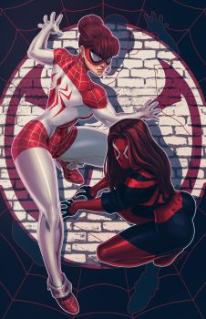 Spider MJ + Scarlet MJ by FooRay