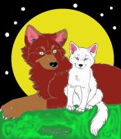 wolf and pup colored by The-DemonWolf