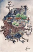 Howls Moving Castle Watercolor by kasun95