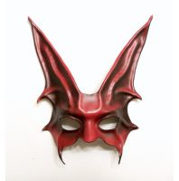 Freaky Rabbit Leather Mask in Red and Black by teonova