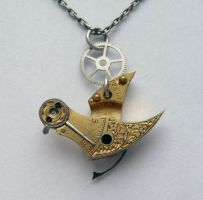 "Clockwork Pendant ""Pond Bird"" by AMechanicalMind"