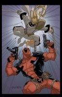 Deadpool vs. Shatterstar by Bloodzilla-Billy