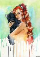 Ginger girl and cat by MartAiConan