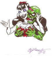 ZOMBIE LOVE COLORS GREEN by LarsonJamesART