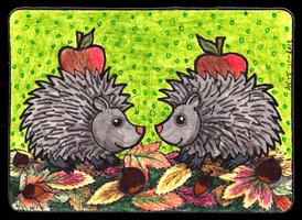 Cute Hedgehogs ACEO 48 by Siobhan68