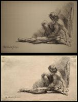 Ink Copy of Rembrandt Etching by comichelle