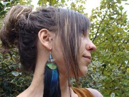 Handmade Long natural feathers earrings by noisypixie