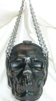 Leather skull purse front by GriffinLeather