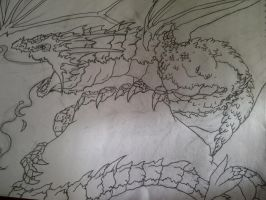 Ice Dragon outline by natfink93