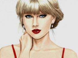 Taylor Swift portrait in colored pencils by JasminaSusak
