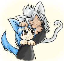 Kitty Xemnas and Puppy Saix by hyperwolfy