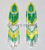 Green, Yellow, White Earrings by Natalie526