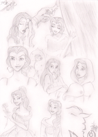 Disney Sketch: Belle by HumanStick