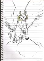 Winged Macho Goat Ram Guardian thing by ZephyrXenonymous