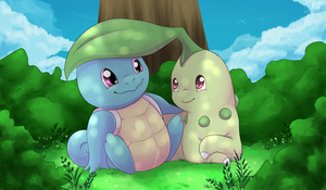 Squirtle and Chikorita by SkatingSquirtle