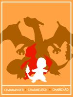 Pokemon Charmander - Charizard Minimalist Poster by Mr-Saxon