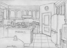 Kitchen perspective by Xiaooyu