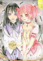 Madoka and Homura by Apple1Head