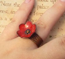 Enamel Poppy Ring by FusedElegance
