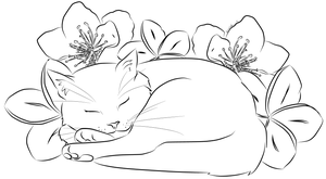 Cat with Flowers by Melchony