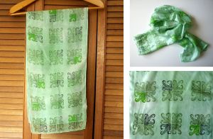 Green Leaves Silk Scarf by lazylinepainterjane