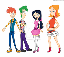 Phineas and Ferb in High School (Redrawn/Colored) by shaolinfan1