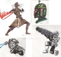 Star Wars Sketches 4-11 by tedwoodsart