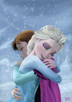 Anna and Elsa_Frozen by pizzaplanet