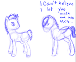 Sketch of Sam and Dean Winchester ponies by Robinstar99