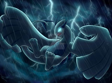 Lugia in a storm by Tarkfir