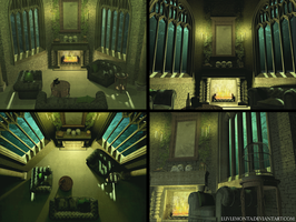 Slytherin common room by luvlemontea