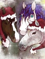 Merry Xmas Horses by CaroRichard