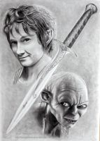 Bilbo and Gollum by ochopanteras