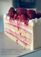 white chocolate and raspberry cake by Pokakulka