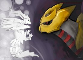 Reshiram and Giratina by sylvia65charm