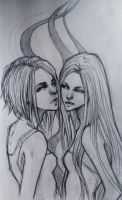 Sketch. Sisters by sashajoe