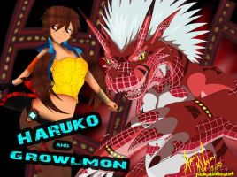 Haruko and Growlmon by pinkaholicgurl