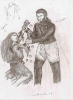 Eponine fighting with Javert by ReveveR