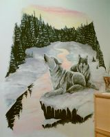 Wallpainting wolves 2 by mooni