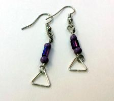 Triangle charm and purple beaded drop earrings by TEDSbyBri