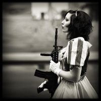 Fairy with ... guns IV bw by Osnafotos