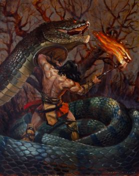 Conan and the Serpent by AaronMiller