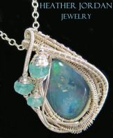 Wire-Wrapped Australian Opal Pendant in Sterling S by HeatherJordanJewelry