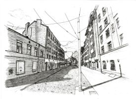 Riga in perspective (pencil) by AOvsepian
