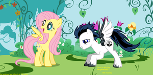 my OC with Fluttershy by FangtheFluffy
