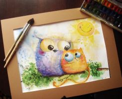 Owl and cat friends by bemain